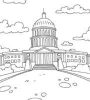 Desenho de Casa Branca de Washington para colorir