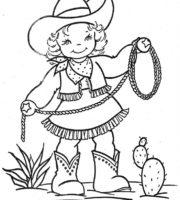 Desenho de Cowgirl para colorir