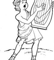 Desenho de Davi tocando harpa para colorir
