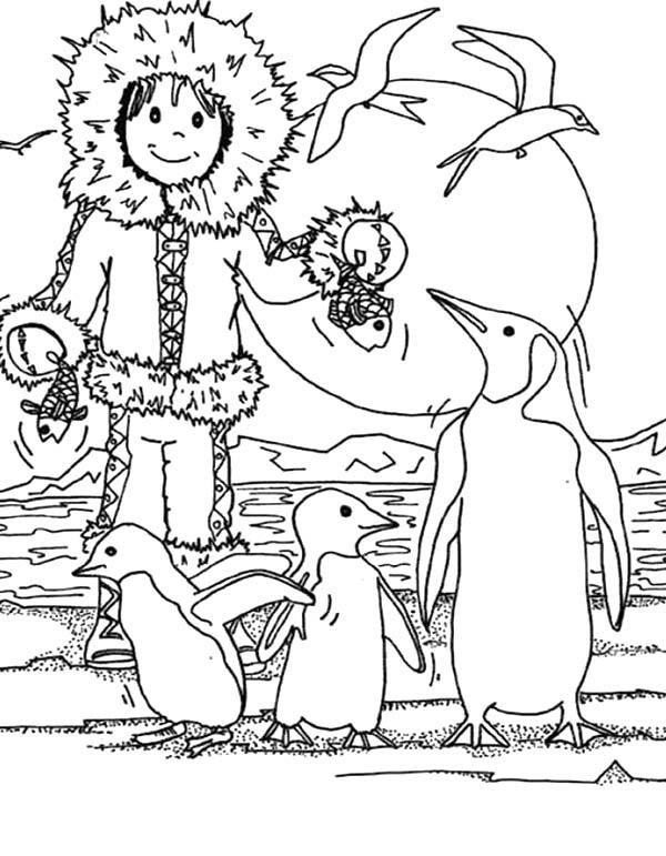 Desenho De Esquimo E Pinguins Para Colorir E Imprimir