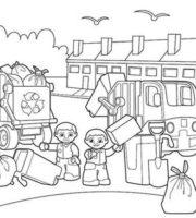 Desenho de Habitantes reciclando lixo para colorir