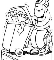 Desenho de Lixeiro coletando lixo para colorir