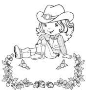 Desenho de Moranguinho cowboy para colorir