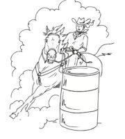 Desenho de Peão de rodeio contornando barril para colorir