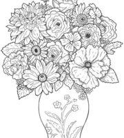 Desenho de Vaso de flores para Colorir e Imprimir