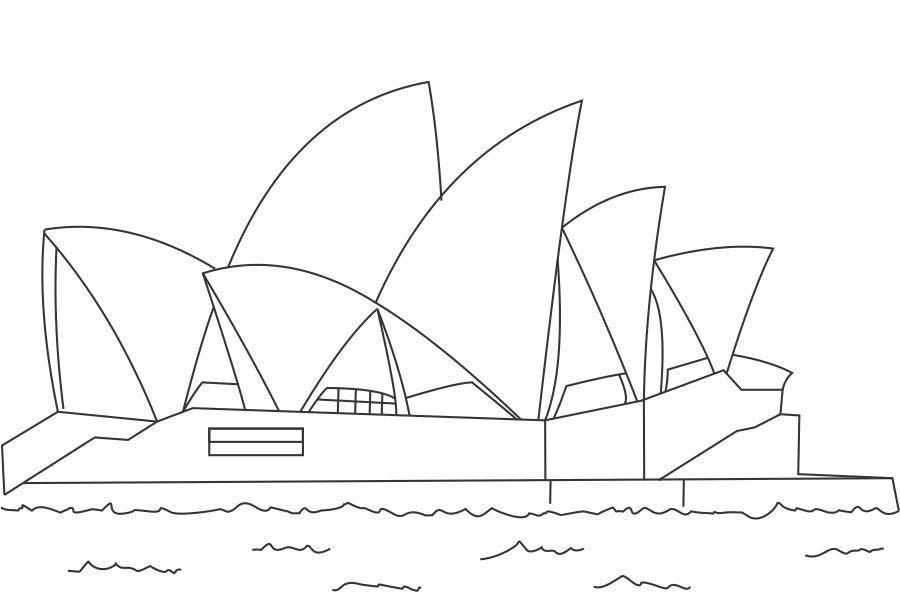 Desenho De Opera House De Australia Para Colorir