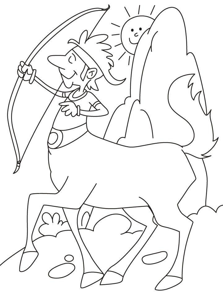 Desenho De Centauro Praticando Arco E Flecha Para Colorir