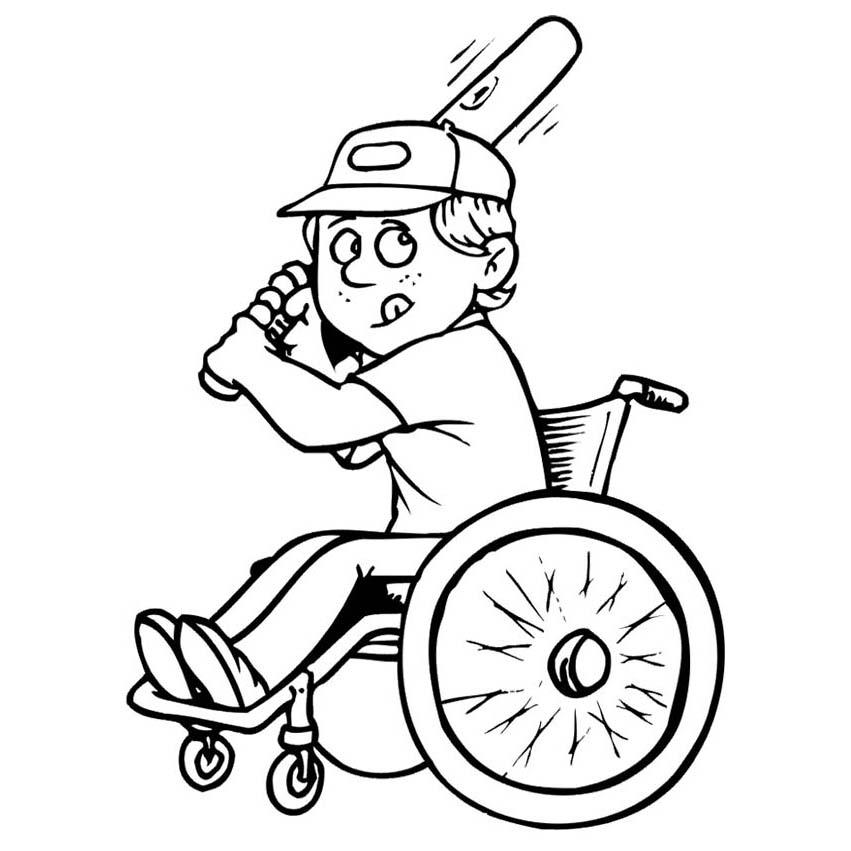 Desenho De Paratleta Jogando Basebol Para Colorir
