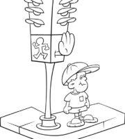 Desenho de Menino esperando semáforo para colorir
