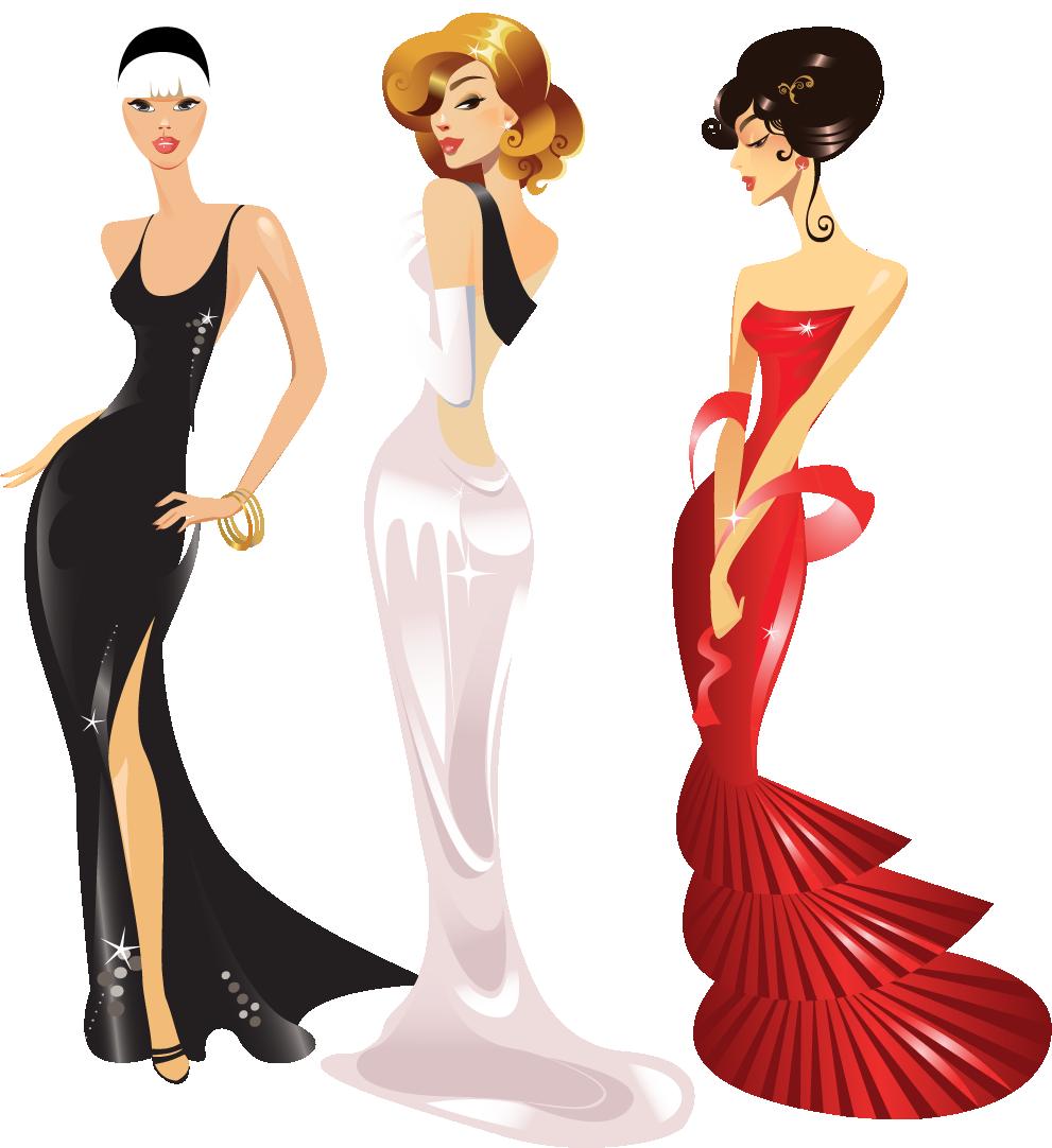 Ilustração de Mulheres Meninas Garotas Fashion PNG, fashion dresses clothes illustration, vestidos de moda ropa ilustración, Mode Kleider Kleidung Illustration