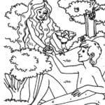Desenho de Adão e Eva comendo maçã para colorir