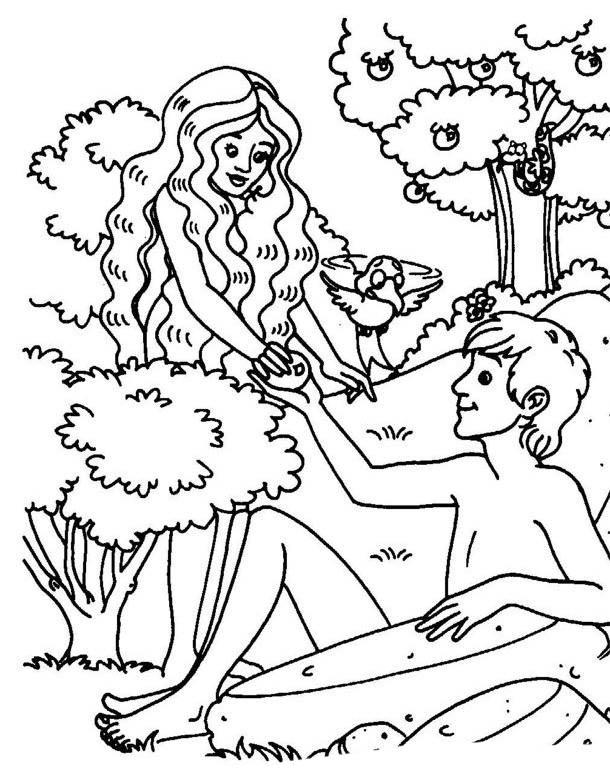 Desenho De Adao E Eva Comendo Maca Para Colorir