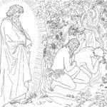 Desenho de Adão e Eva fugindo da presença de Deus para colorir
