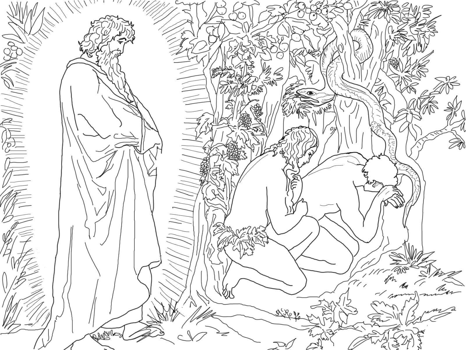 Desenho De Adao E Eva Fugindo Da Presenca De Deus Para Colorir