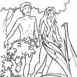 Desenho de Adão e Eva na criação do mundo para colorir
