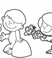 Desenho de Adão e Eva para criança para colorir
