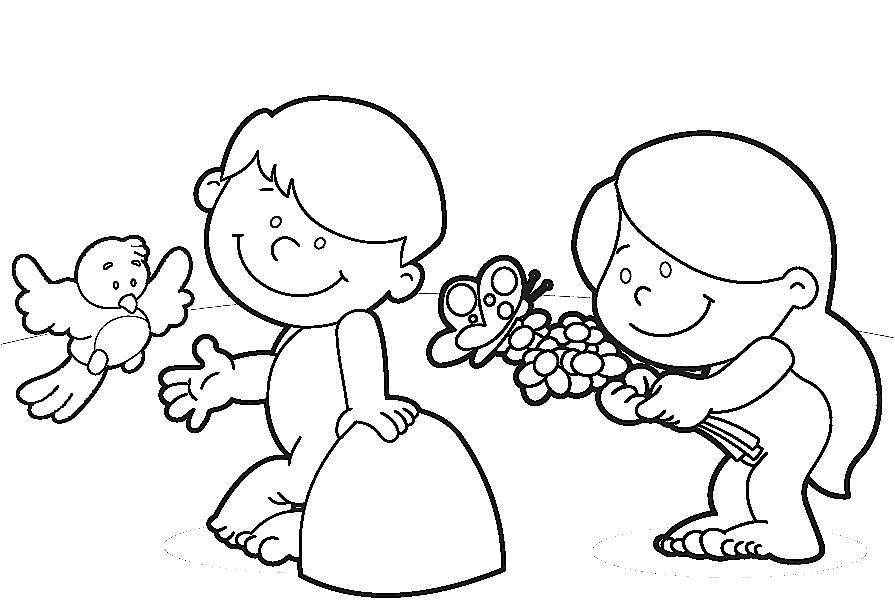 Desenho De Adao E Eva Para Crianca Para Colorir E Imprimir