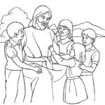 Desenho de Amiguinhos de Jesus para colorir