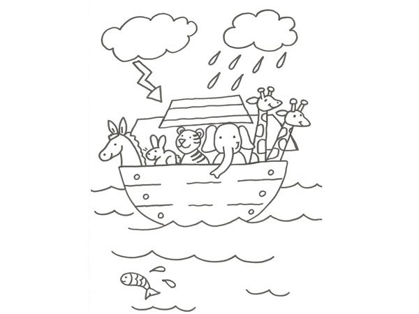 Desenho de Arca de Noé e o dilúvio para colorir