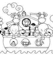 Desenho de Arca de Noé infantil para colorir