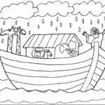Desenho de Arca de Noé no mar para colorir