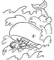 Desenho de Baleia comendo sujeira do mar para colorir