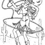Desenho de Barbie cowboy para colorir