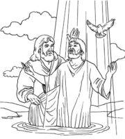 Desenho de Batismo de Jesus no rio para colorir