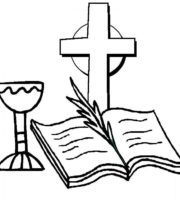 Desenho de Bíblia aberta diante da cruz para colorir