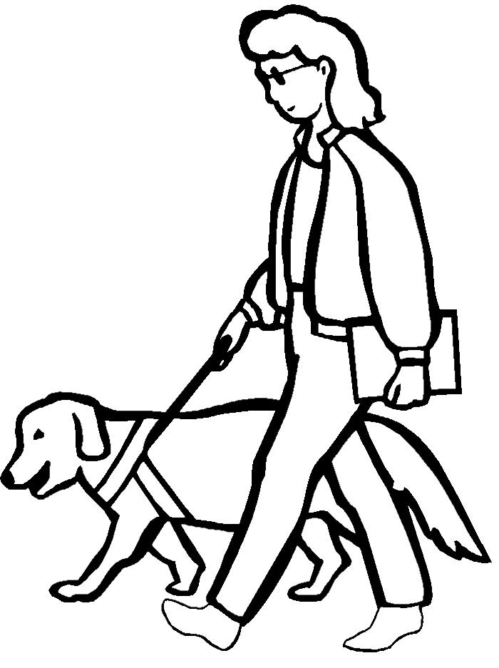 Desenho de Cão guia para cego para colorir