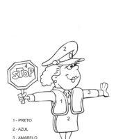 Desenho de Colorir com números - Guarda de trânsito para colorir