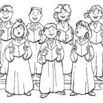 Desenho de Coro da igreja para colorir