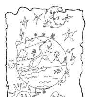 Desenho de Deus criando a lua e as estrelas para colorir