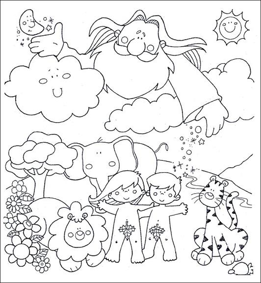 Desenho De Dia Da Criacao Do Mundo Para Colorir