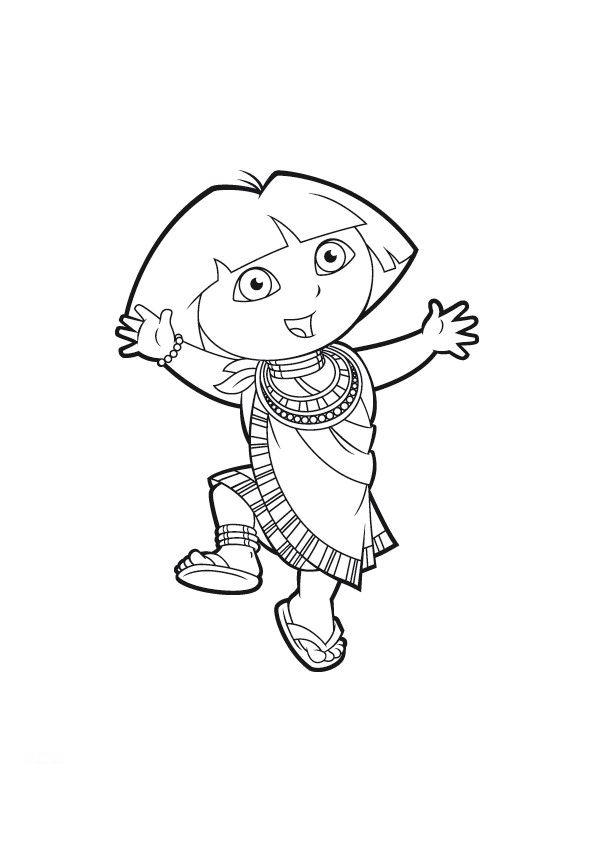 Desenho de Egípcia Dora Aventureira para colorir