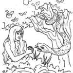 Imagens de Eva e a serpente para colorir