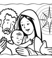 Desenho de Família de Jesus para crianças para colorir