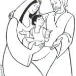 Desenho de Família sagrada de Jesus para colorir