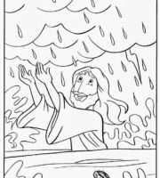 Desenho de Jesus acalmando a tempestade do mar para colorir