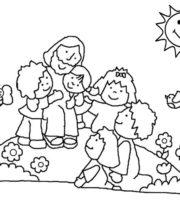 Desenho de Jesus ama as crianças para colorir