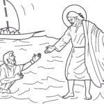 Desenho de Jesus anda sobre as águas para colorir