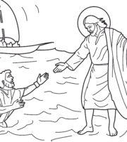 Desenho de Jesus anda sobre as águas para colorirDesenho de Jesus anda sobre as águas para colorir