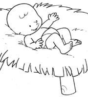 Desenho de Jesus bebê para colorir