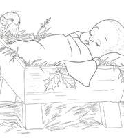 Desenho de Jesus bebê na manjedoura para colorir