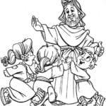 Desenho de Jesus com meninos para colorir