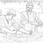 Figuras de Jesus Cristo aprendendo carpintaria para colorir