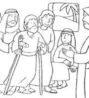 Desenho de Jesus curando paralítico para colorir