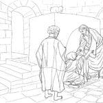 Desenho de Jesus curando sogra de Pedro para colorir
