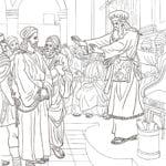 Desenho de Jesus diante de Caifás no juízo para colorir