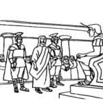 Desenho de Jesus diante de Pilatos para colorir